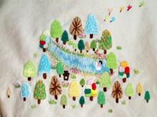 2013RURUの刺繍バッグ 麻生地 front up